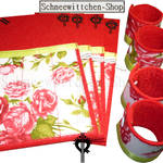 Bestecktaschen in rot mit Rosen