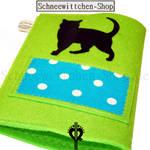 Katzenpasshülle Moritz in blau-grün 2