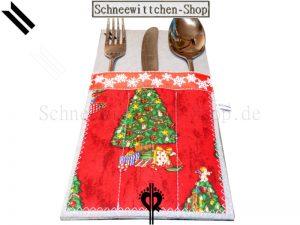 Bestecktaschen Set Weihnachten grau-rot