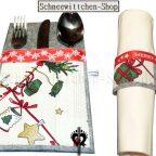 Bestecktaschen Set Weihnachten grau-weiß