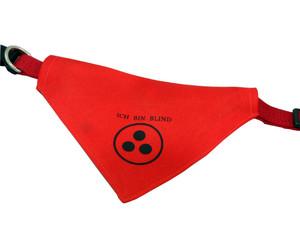 Hundehalstuch Mit Name oder Motiv bedruckt, Kopftuch Hundehalsband Ich Bin Blind aus Polyester in Rot