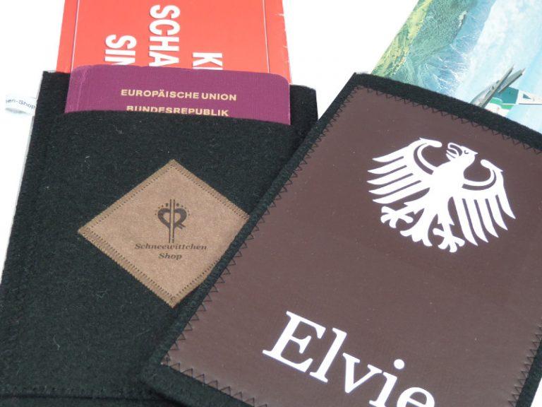 Travel Organizer für deine Reiseunterlagen, Reisepasshülle, Reiseetui aus Filz mit dem Wappen Deutschen Adler